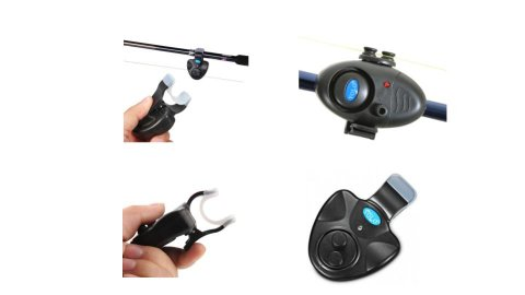 Various models of electronic fish bite alarms. They resemble small, black, triangular or oval clip-on devices that clip to the side of a fishing rod. On the side of the devices, there are two small circular knobs that the user threads the fishing line through. Each device has one or two small menu buttons.