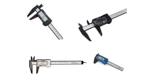 """Various models of digital rulers. They resemble standard rulers, but with two caliper """"prongs"""" that grasp an object or mark the endpoint. They also have a non-color display screen that displays measurements along the side of the ruler (facing upwards toward the viewer for easy visibility). All models shown are stainless steel."""