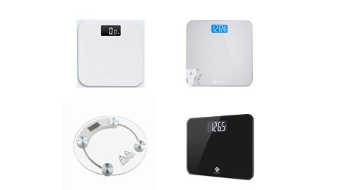 Various models of digital scales. They resemble standard scales, but with an LED display screen at the top instead of an analogue display. Three models are square with rounded edges, while one is round with four round sensors on top. Three models are white with color display screens, while a fourth is black.