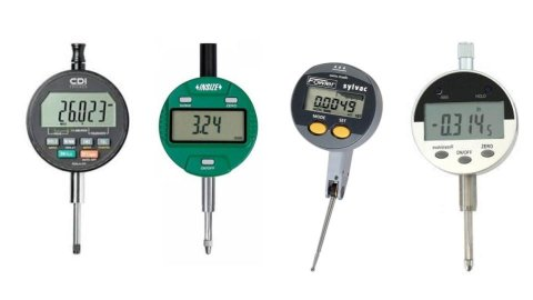 Various models of digital indicators. They resemble small, round electronic devices with LCD digital display panels and small menu buttons on the front. They have small, thin probes resembling drill bits running down the center of the devices. One device is dark grey; one is green; one is grey and black; and a fourth is white and black.