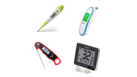 Various models of thermometers. All models have digital display screens, and three devices are long and rectangular. One has a pointed end for gauging body temperature. Another has an end that resembles a barcode scanner. The food thermometer has a long, thin metal probe. The fourth model is a small-sized and square electronic device with display panel that features a built-in kickstand. One model is yellow; another is white with blue trim; a third is black with red trim; and the fourth is black.