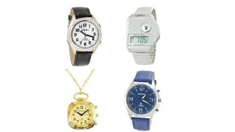 Several different models of talking watches. They resemble standard wristwatches, while one model is a gold-colored pocket watch on a chain. Another model is a silver-colored digital watch with a narrow rectangular display. Two other models are analog watches, one black and the other blue.