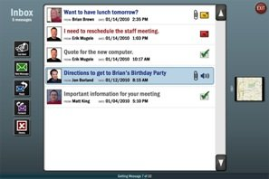 Screen shot showing email inbox and row of program buttons on left.