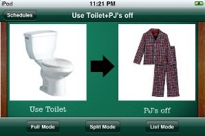 Screen shot showing two images side by side, with a toilet on the left and a pair of pajamas on the right and a arrow pointing right in between.