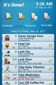 Screenshot showing a list of to do items with icons across the top.