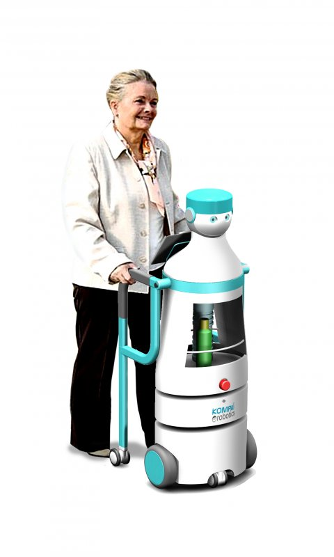 Elderly women with a walker connected to child-sized robot on wheels.