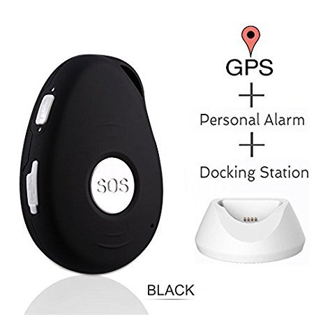 Oblong black handheld device with silver SOS button in center, and small white charging dock on right.