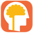 Orange, rounded square with an image of a head in the middle and a yellow brain inside.