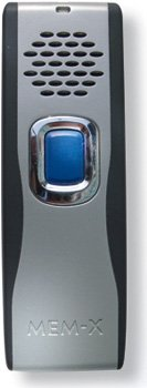Small, vertical, silver rectangular device with a large blue button in the center and a speaker at the top.