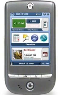Handheld device with display screen showing a list of to do items.