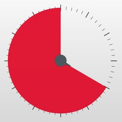 White square with an analog clock face with no numbers and two thirds of face filled in with the color red.