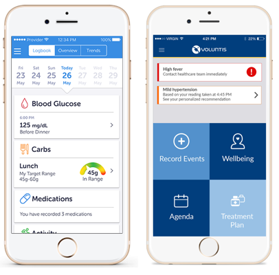 """Two screenshots of the BlueStar app on an iPhone. The left screenshot shows a """"stats"""" page, with blood glucose, carbs, and medication statistics. The screenshot on the right shows the main menu page, with options to """"Record Events,"""" an """"Agenda,"""" a """"Treatment Plan,"""" and a """"Wellbeing"""" page."""