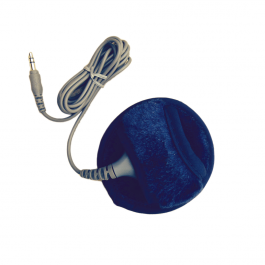 A small, round, and dark blue pillow cushion with a grey cord attached.