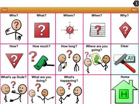 Screenshot of 3x5 square grid of stick/symbol illustrated question phrases.