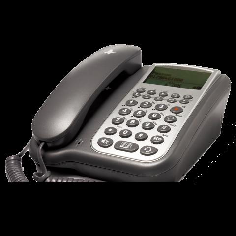 A black corded telephone set.