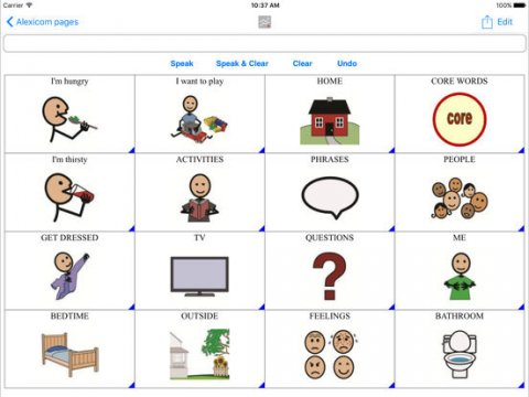 Screenshot of pictographic menu with options such as home, core words, activities, and phrases.