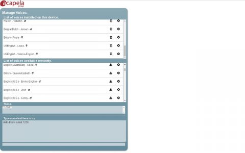 Screenshot showing partial list of available voices.