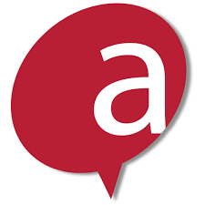 A large red conversation bubble with a lowercase letter a inside.