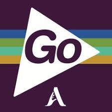 Purple colored square with a large white arrow in center and the word Go inside with a small capital A on the bottom.