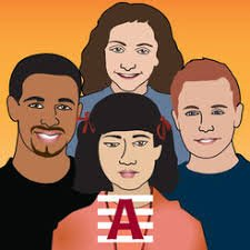 Square with orange background and four students shown from the chest up and arranged in a diamond configuration with a capital letter A in red on the bottom.