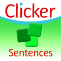 Square image with Clicker written on top against a white background and curved blue strip underneath and below that are three small squares of different shades of green against a green background.