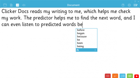 Screenshot of sentence being written with a scrolling menu showing word choices.