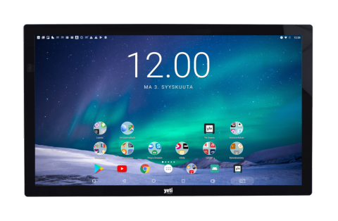Large rectangular display with home PC screen showing time in large numbers at the top and icons for various functions.