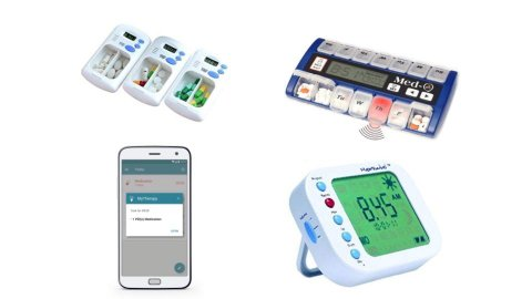 Several different models of medication reminders. One is a smartphone app; another resembles a digital timer. Two models resemble standard pillboxes, but with LCD panels and various menu buttons.