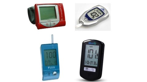 Several different models of talking glucometers. They resemble small digital timers or thermometers, with LCD panels and sticks for blood testing.