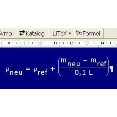 Detail view of mathematical formula in LiTex window with extra large white characters on a blue background.