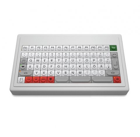 A keyboard without a keypad or integrated wrist rest.
