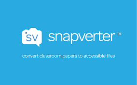 Light blue rectangular shape with small white camera icon on left in the form of a conversation bubble, and snapverter written in lowercase white letters on the right.