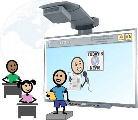 Three colorful stick figures. One standing on a small platform reading from a page, and two sitting at desks in front of him. Behind them all is a large computer display with Today's News written on it.