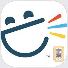 Rounded white square with smiley face with open mouth and three colorful talk bars coming out.
