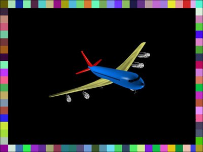 Black square with border consisting of tiny colored blocks. Inside is a colorful airplane.