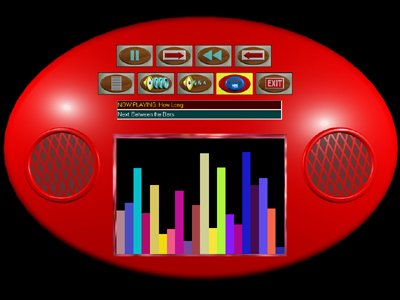 Black rectangular shape with a large, red oval-shaped boombox with speakers on the right and left and colorful sound level bars in the middle.