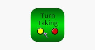 Rounded green square with with Turn Taking written on top and one yellow and one red button underneath with an arrow pointing at the yellow button.
