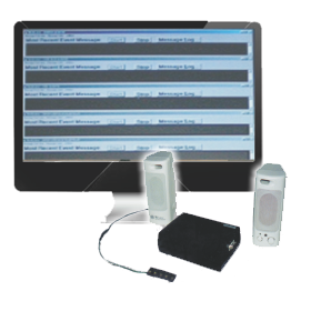 Computer monitor displaying screenshot of Vindicator software with two small speakers in front as well as a small black rectangular device.