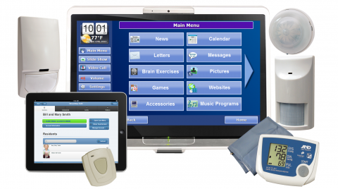 A range of components, including a large TV monitor, a smaller tablet, a digital thermometer, and two standalone speakers.