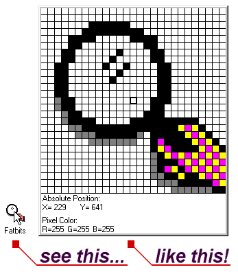 Pixelated tall rectangular image of a hand holding a magnifying glass with grid locations on the bottom.