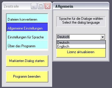 Screenshot of software's settings.