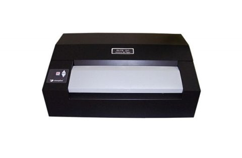 A low profile, black desktop printer with the paper output tray in the front and a control panel on the left.