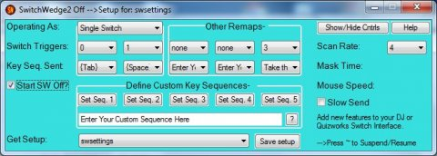 Screenshot showing setup screen and various control options.