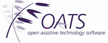 A large, rectangular shape with three purple oat drawings on the left and the word OATS in all caps on the right.
