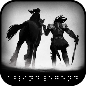 A dark graphic featuring a shadowy horse and rider, who is wearing armor and has a sword. Beneath, Braille characters are illustrated digitally.