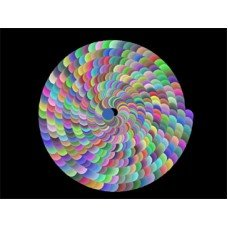 A black screen with a swirl of different colors.