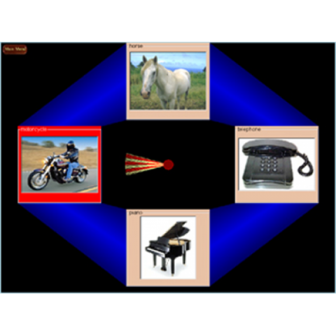 """Four different images (motorbike, horse, telephone, and piano) arranged in a """"cross"""" pattern against a black and blue background."""
