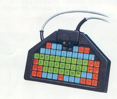 Trapezium-shaped keyboard with keys in different colors.
