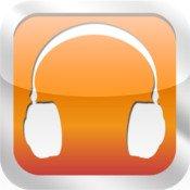 An orange rectangular icon with a white headphone graphic.