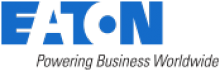 """Blue and white bold font that reads, """"Eaton."""" Beneath are the words, """"Powering Business Worldwide,"""" in smaller black font."""